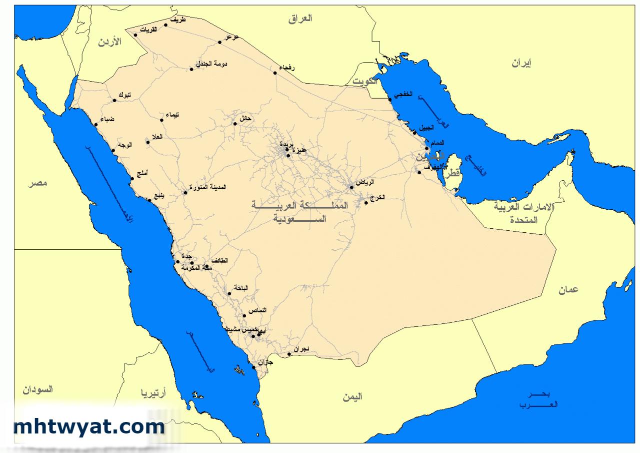 خريطة السعودية موقع محتويات