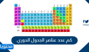 كم عدد عناصر الجدول الدوري