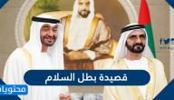 كلمات قصيدة بطل السلام التي أهداها حاكم دبي لمحمد بن زايد