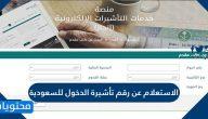 الاستعلام عن رقم تأشيرة الدخول للسعودية 1442